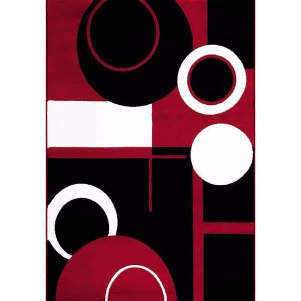 Persian Rugs Tobi S Collection Red Black White Circle