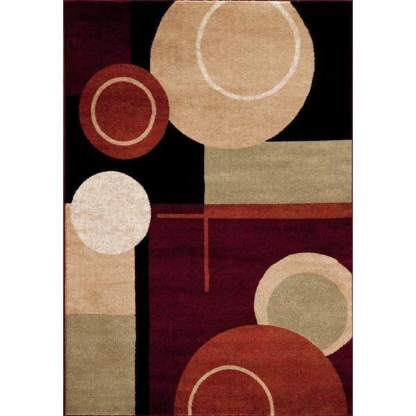 Persian Rugs Tobi's Collection Black Beige White Circle Abstract Area Rug - 7'10 x 10'6