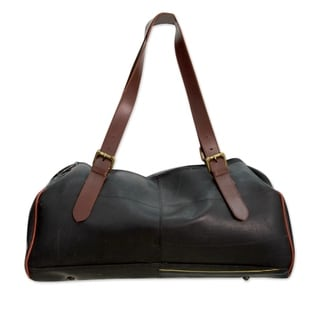 Handcrafted Recycled Tire Tube 'Sportster' Duffel Bag (India)