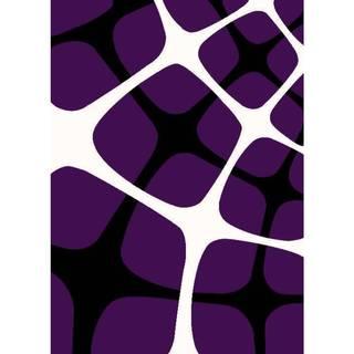 "Persian Rugs Tobi's Geometric Purple Black White Squared Area Rug - 5'2"" x 7'2"""