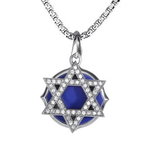 Stephen Webster No Regrets Silver Diamond and Lapis Star of David Pendant Necklace
