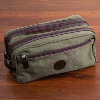 Handmade Men's Leather Accent Cotton 'Olive Textures' Travel Case (Peru)