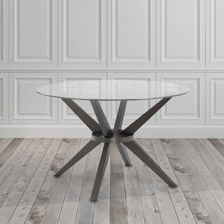 Modern Round Glass and Wood Dining Kitchen Table