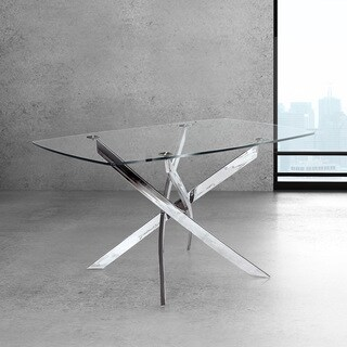 Modern Rectangle Glass and Metal Dining Kitchen Table - Silver