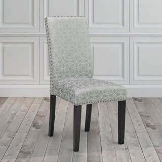 Gray and White Upholstered Nailhead Dining Room Chair Set