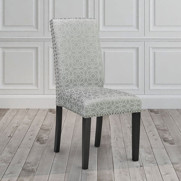White Fabric Dining Room Chairs: Gray And White Upholstered Nailhead Dining Room Chair Set