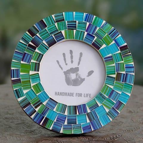 Handmade Glass Mosaic 'Aqua Mist' Photo Frame (4x4) (India)