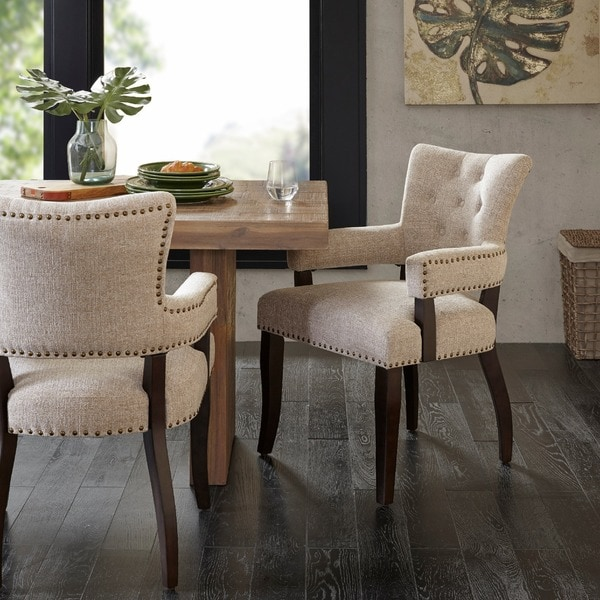 INK IVY Brooklyn Cream Morocco Dining Arm Chair Set Of 2