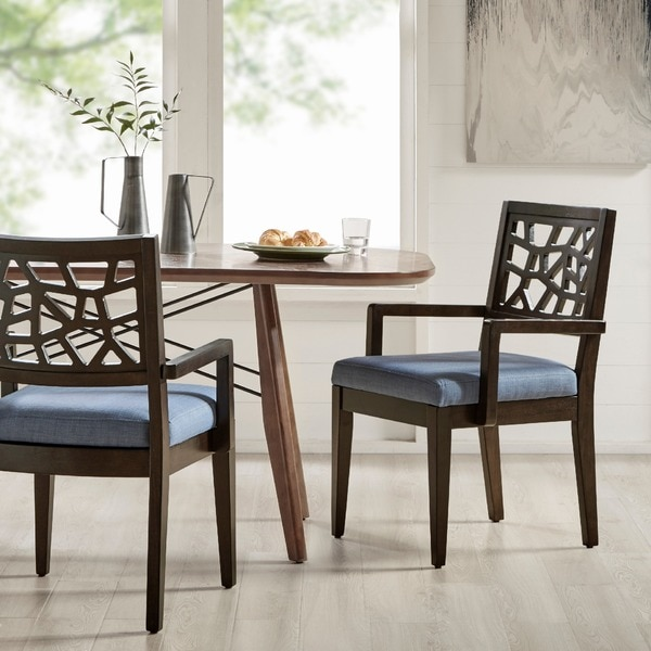 INK IVY Crackle Blue Chocolate Dining Arm Chair Set Of 2