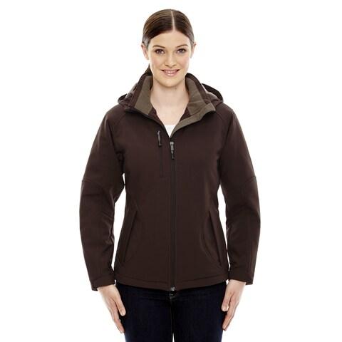 Glacier Insulated Three-Layer Fleece Bonded Women's Soft Shell With Detachable Hood Dark Chocolate 672 Jacket