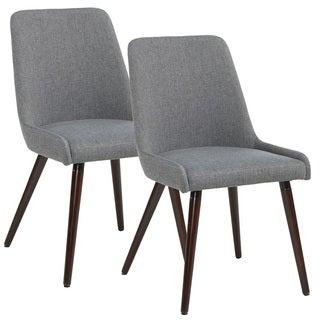 Mia Set of 2 Walnut Leg Fabric Side Chairs