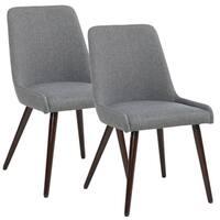 Strick & Bolton Ella Mid-century Walnut Leg Fabric Dining Chairs 2-piece Set