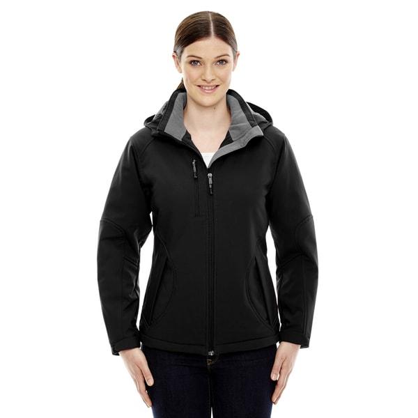 Glacier Insulated Three-Layer Fleece Bonded Women's Soft Shell with Detachable Hood Black 703 Jacket