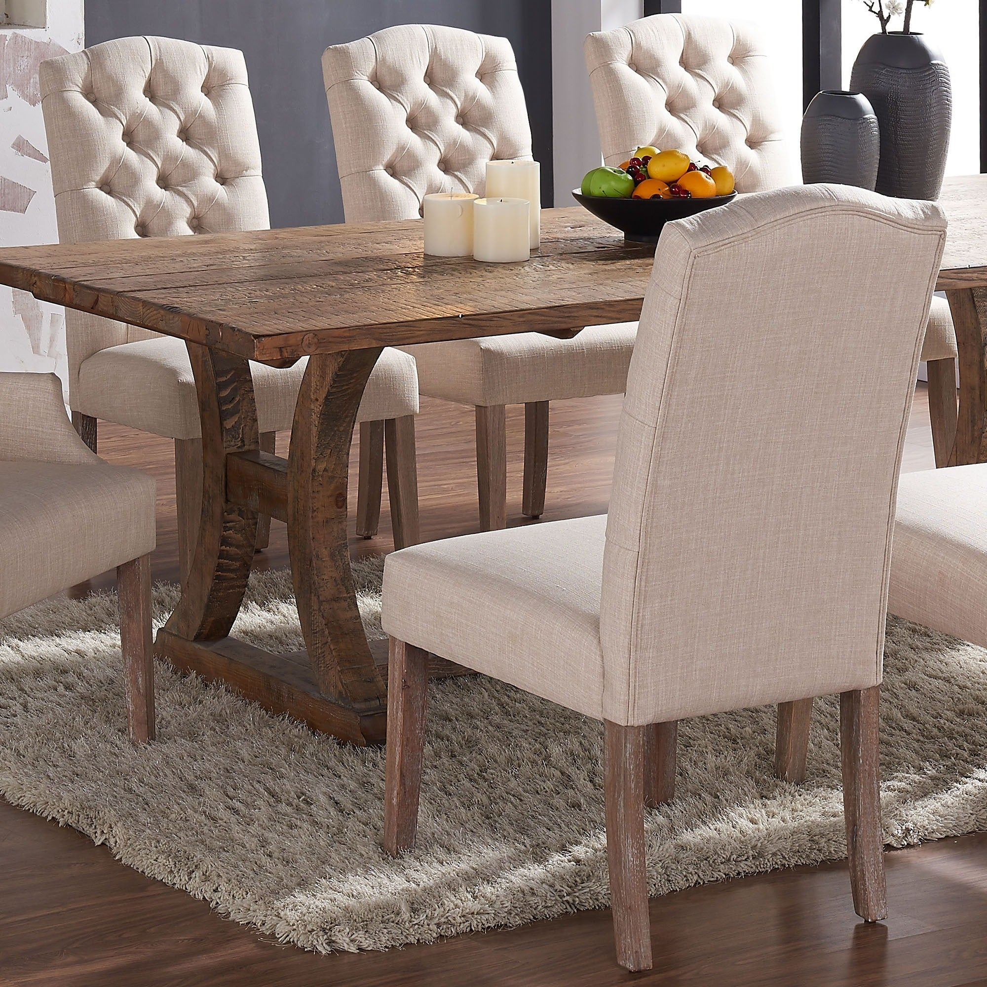Lucian Set Of 2 Linen Button Tufted Dining Chairs