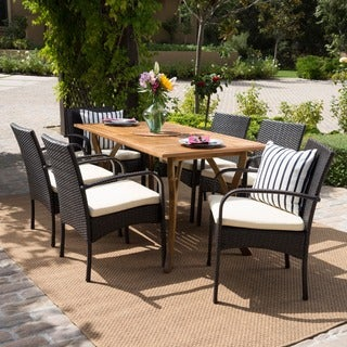 San Andres Outdoor 7-piece Rectangle Dining Set with Cushions by Christopher Knight Home