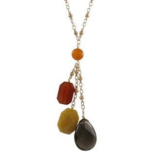 Luxiro Gold Finish Carnelian, Jade and Jasper Semi-precious Gemstone Tassel Necklace