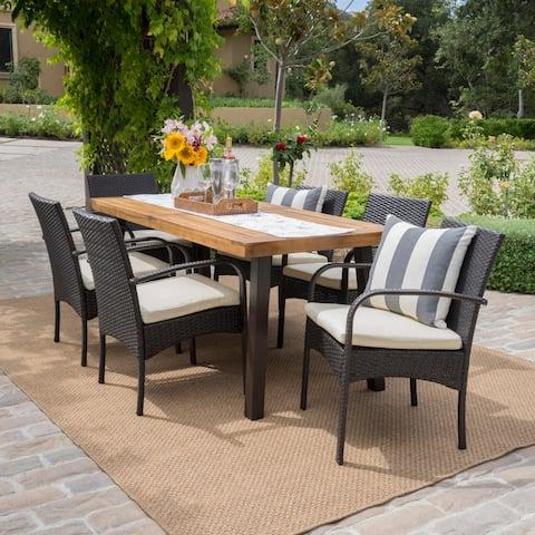 Bavaro Acacia Wood Outdoor 7-piece Rectangular Dining Set