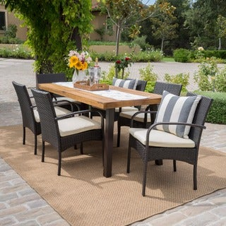 Bavaro Outdoor 7-piece Rectangle Dining Set with Cushions by Christopher Knight Home