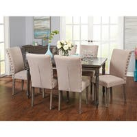 Simple Living Burntwood Parson Weathered Grey Upholstered Dining Set