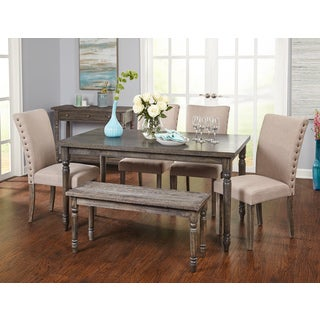 Awesome Simple Living Burntwood Parson Weathered Grey 6 Piece Dining Set