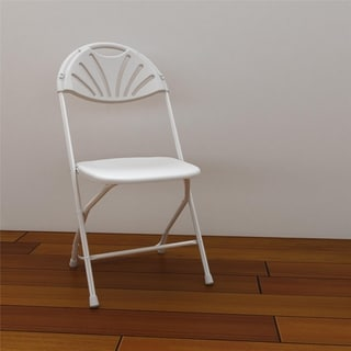 COSCO Commercial 8-pack Heavy Duty, Injection Mold Fan Back, White Folding Chair with Comfortable Contoured Back