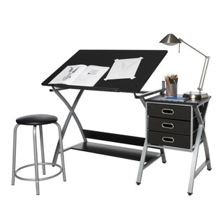OneSpace 50-CS03 Black and Silver Drafting Craft  Hobby Table with Stool