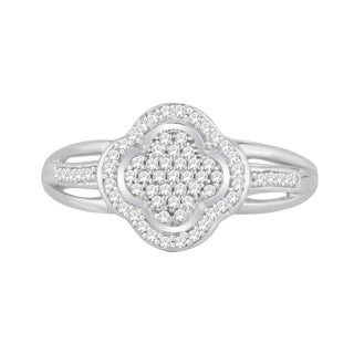 Trillion Designs Sterling Silver 1/6ct TDW Diamond Clover Cluster engagement ring and(H-I, I1-I2)
