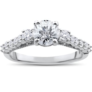 14k White Gold 1 1/2ct TDW Clarity Enhanced 3-Stone Vintage Diamond Engagement Ring (I-J, I2-I3)