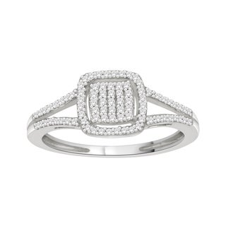 Trillion Designs Sterling Silver 1/5ct TDW Diamond engagement ring and(H-I, I1-I2)