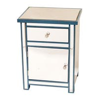 Heather Ann Blue Trimmed Beveled Mirror Cabinet