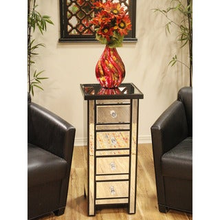 Heather Ann 4-drawer Tall Mirrored Chest