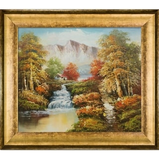 North View of Mountains' Hand Painted Framed Canvas Art