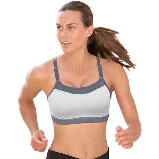 The Show-Off Women's White/Med Grey Sports Bra