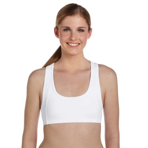 Women's White Mesh Back Sports Bra