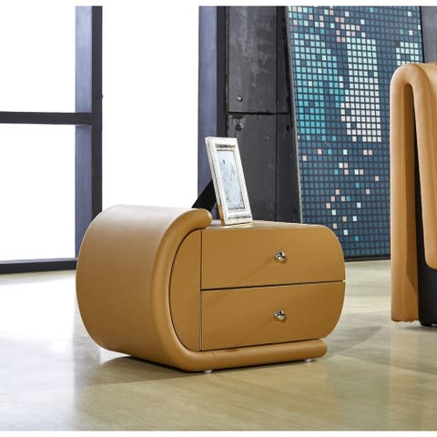 Zoe Camel Brown Faux-Leather Oval Nightstand