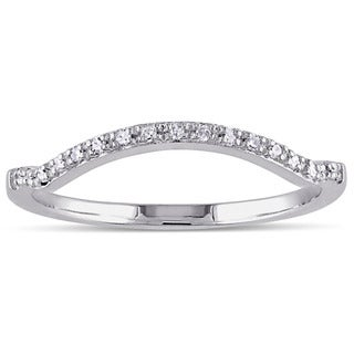 Miadora 10k White Gold Diamond Accent Contour Anniversary-style Stackable Wedding Band (G-H, I1-I2) Size 7(As Is Item)