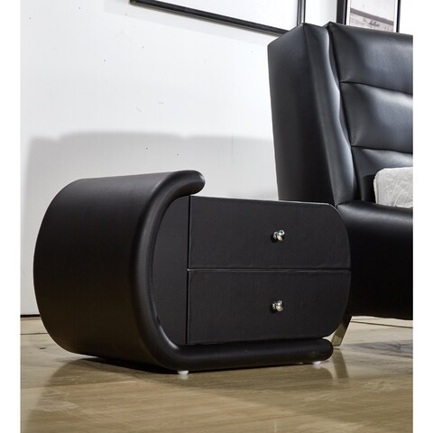 Zoe Black Faux-Leather Oval Nightstand