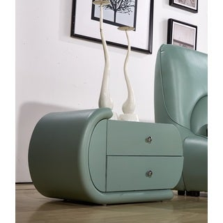 Zoe Cadet Blue Faux-Leather Oval Nightstand