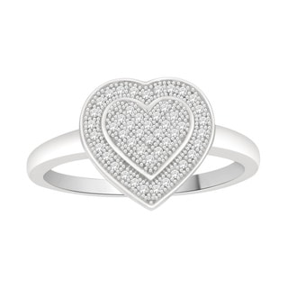 Trillion Designs 925 Sterling Silver 1/6ct TDW Diamond Heart Cluster Engagement Ring