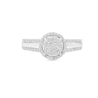 Trillion Designs Sterling Silver 1/8ct TDW Diamond engagement ring and