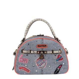 Nicole Lee Athena Patch Print Bowler Handbag