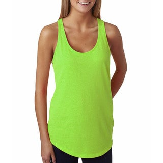 Next Level Women's The Terry Racerback Neon Heather Green Tank