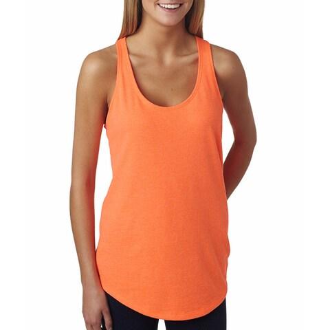 Next Level Women's The Terry Racerback Neon Heather Orange Tank