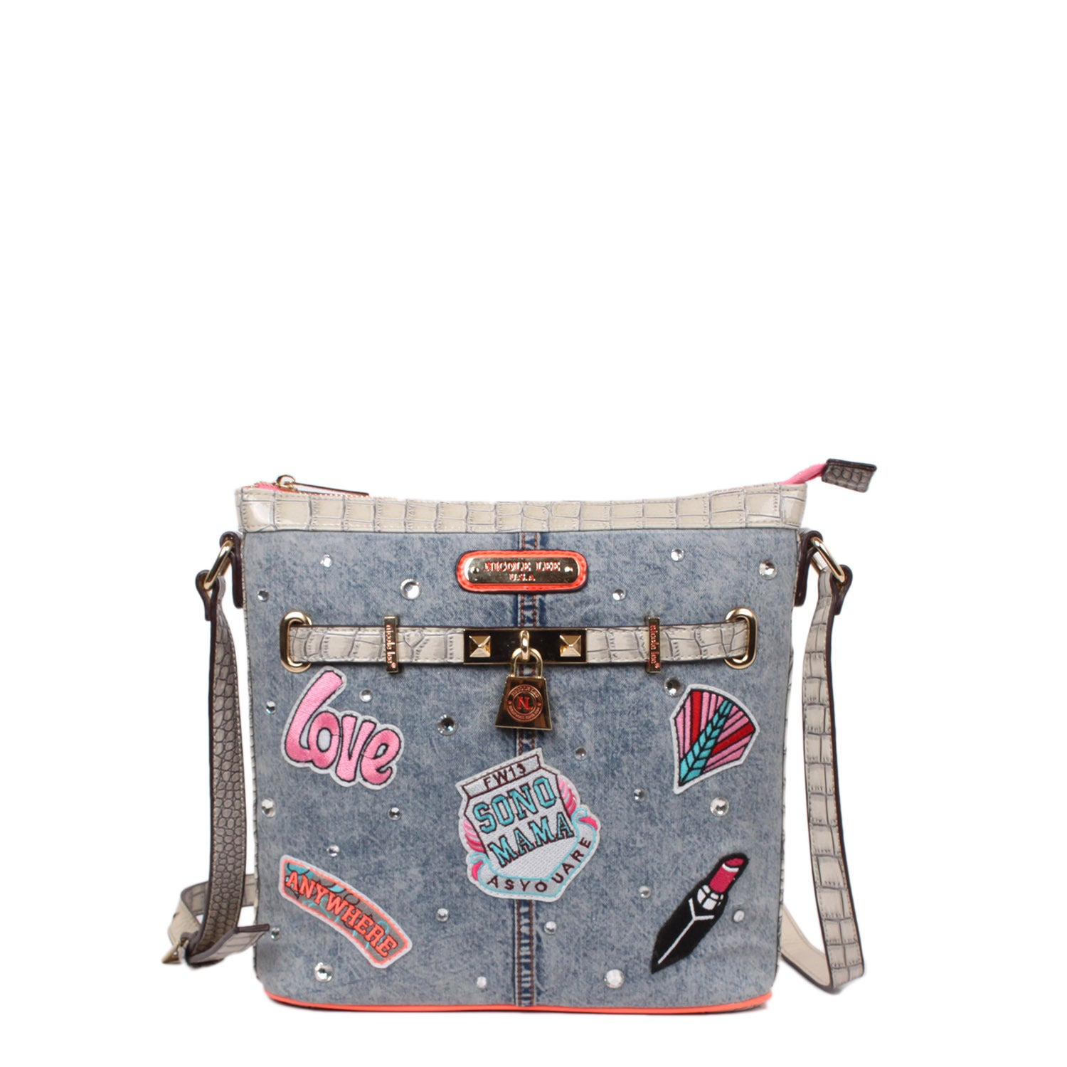 Nicole Lee Athena Patch Print Crossbody Handbag (Patch), ...