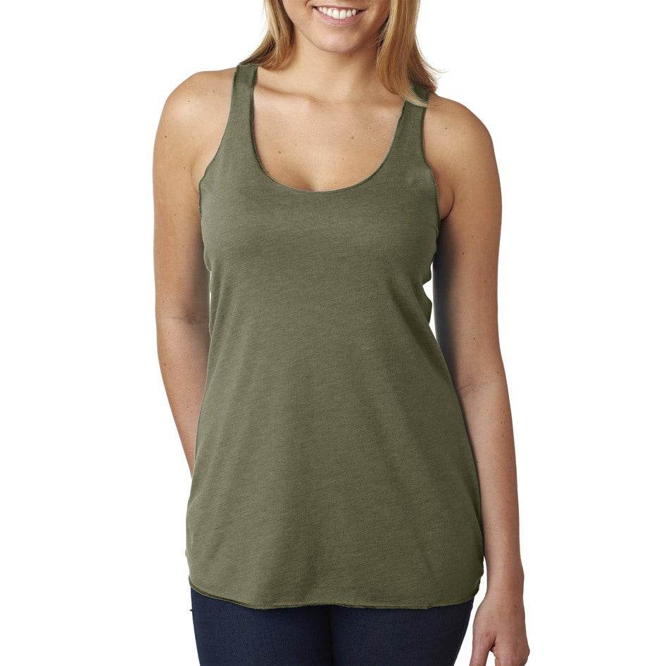 Next Level Womens Tri-Blend Racerback Military Green Tank