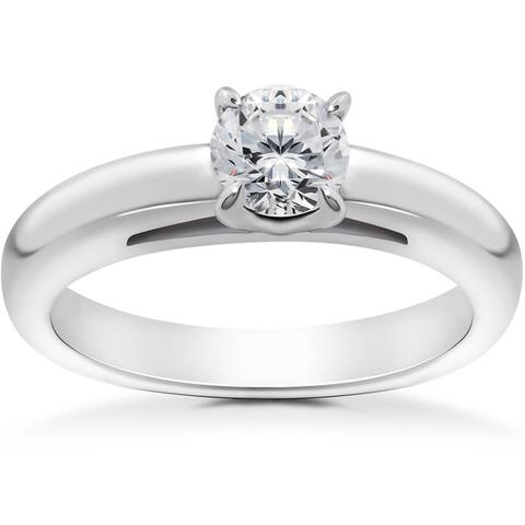 14k White 1/2ct Round Brilliant Cut Diamond Solitaire Engagement Ring