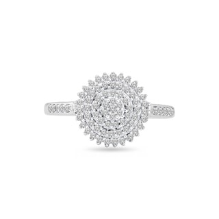Trillion Designs Sterling Silver 1/4ct TDW Diamond Flower Cluster engagement ring and