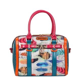 Nicole Lee Feather Print Boston Handbag