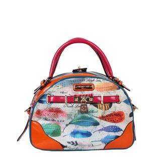 Nicole Lee Feather Print Bowler Handbag