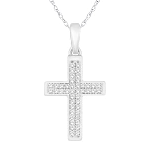 Trillion Designs Sterling Silver 1/5ct TDW Diamond Cross Necklace Pendant (H-I, I1-I2)